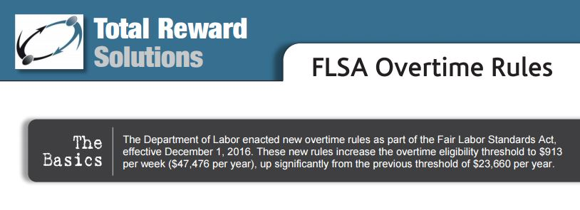 FLSA Overtime Regulations Questions and Answers | Total Reward Solutions