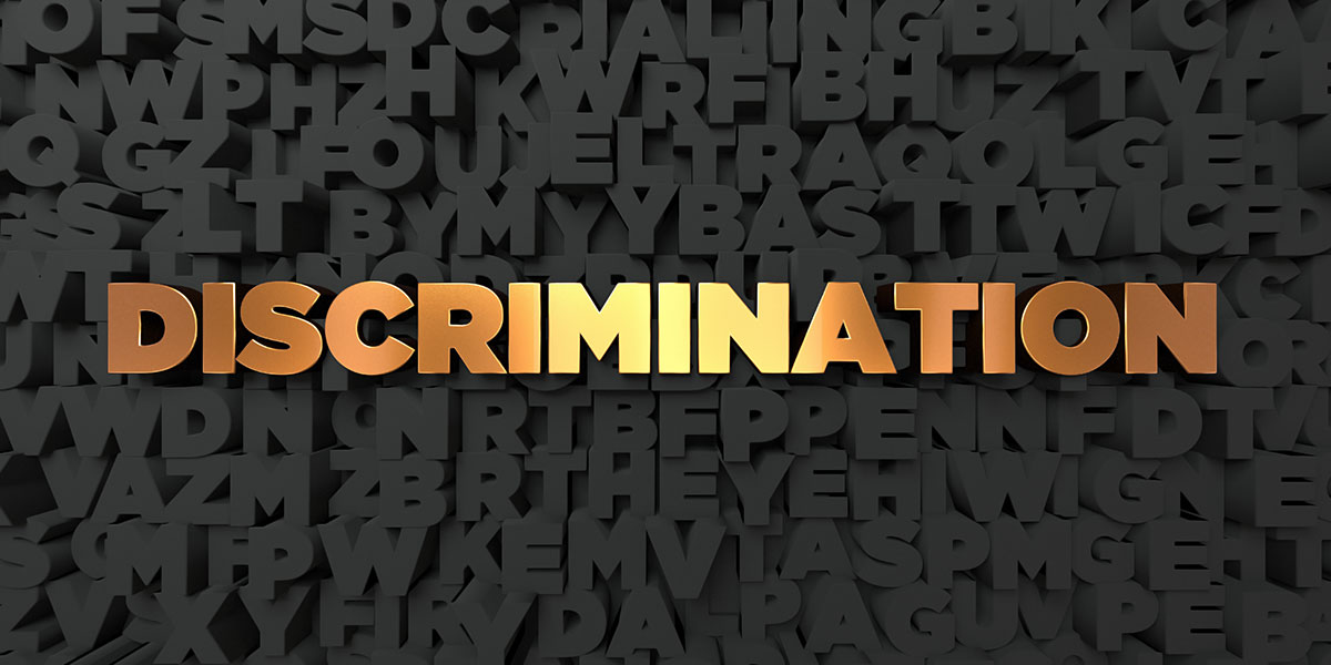 Discrimination - Gold text on black background - 3D rendered stock picture.